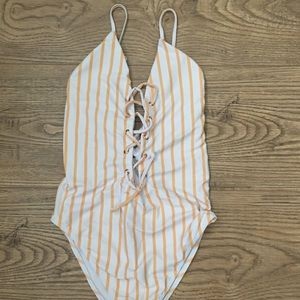 Yellow striped swimsuit